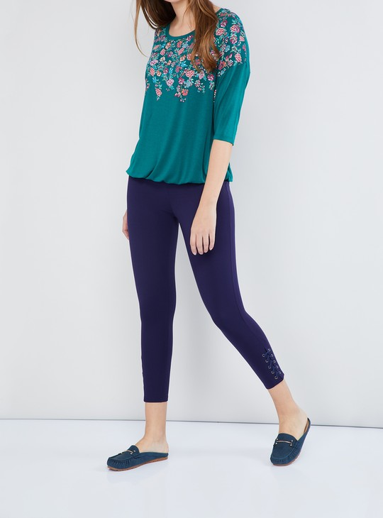 MAX Solid Lace-Up Hem Treggings