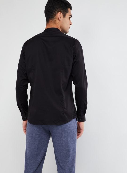 MAX Solid Mandarin Collar Long Sleeve Shirt