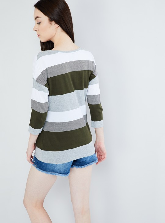 MAX Striped Three-Quarter Sleeve Knitted Top