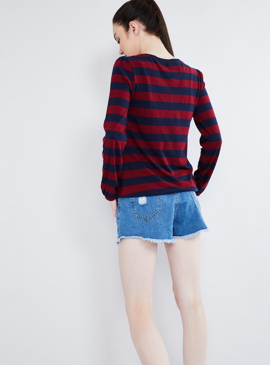 MAX Tie-Up Neck Striped Henley T-shirt
