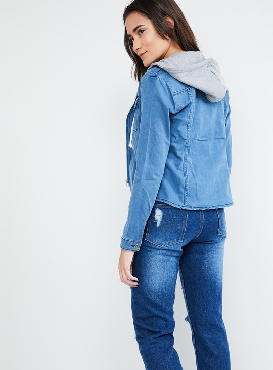 MAX Solid Hooded Denim Jacket