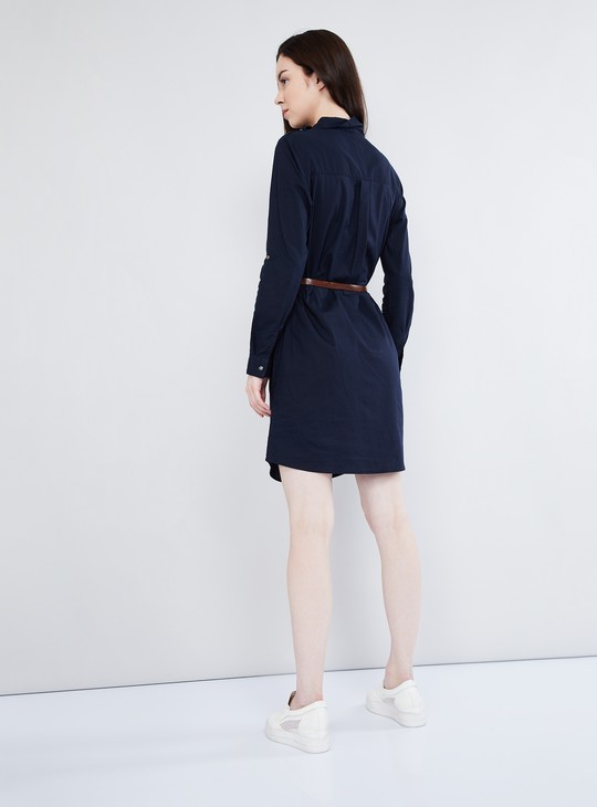 MAX Solid Belted Shirt Dress