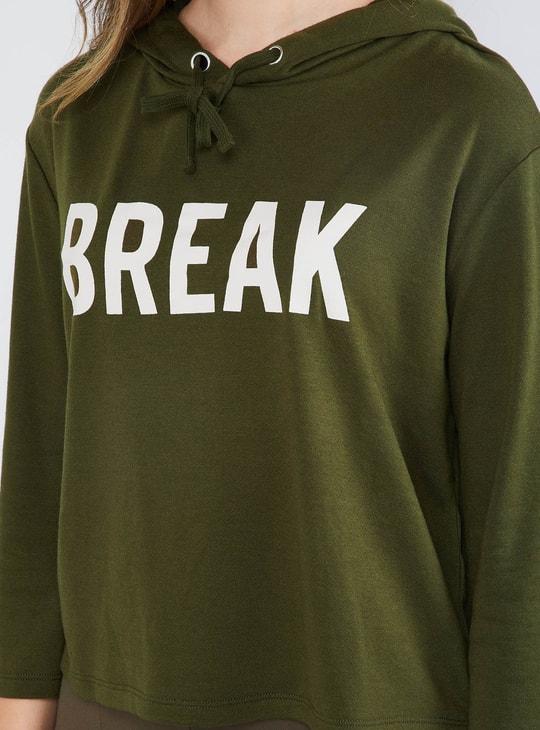 MAX Typography Hooded Boxy Sweatshirt