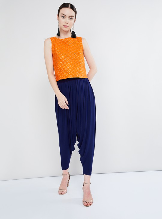 MAX Jaali Print Sleeveless Silk Top