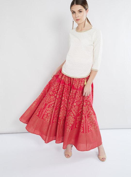 MAX Metallic Banaras Print Maxi Skirt
