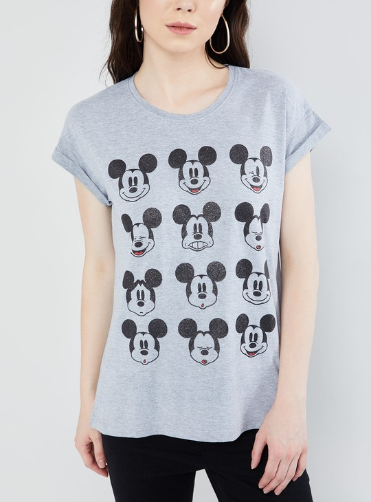 MAX Mickey Mouse Print T-shirt with Upturned Hems