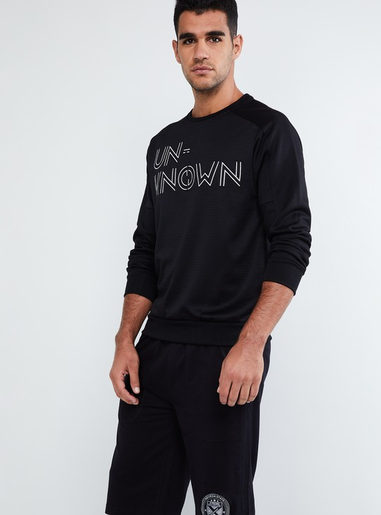 MAX Typography Print Textured Sweatshirt
