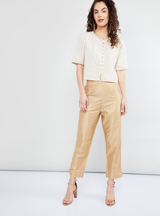 MAX Checked Cropped Ethnic Pants