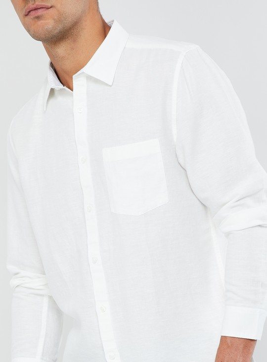 MAX Solid Long Sleeve Linen Shirt