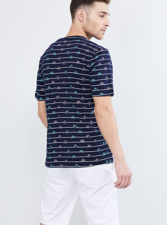 MAX Striped Quirky Print Crew Neck T-shirt