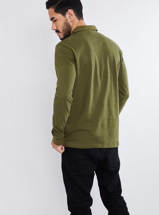MAX Solid Spread Collar Long Sleeve T-shirt