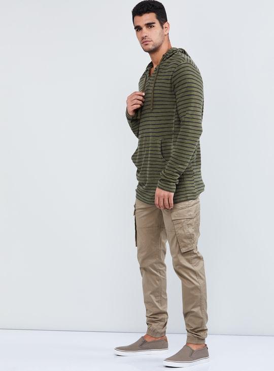 MAX Striped Hooded Longline T-shirt
