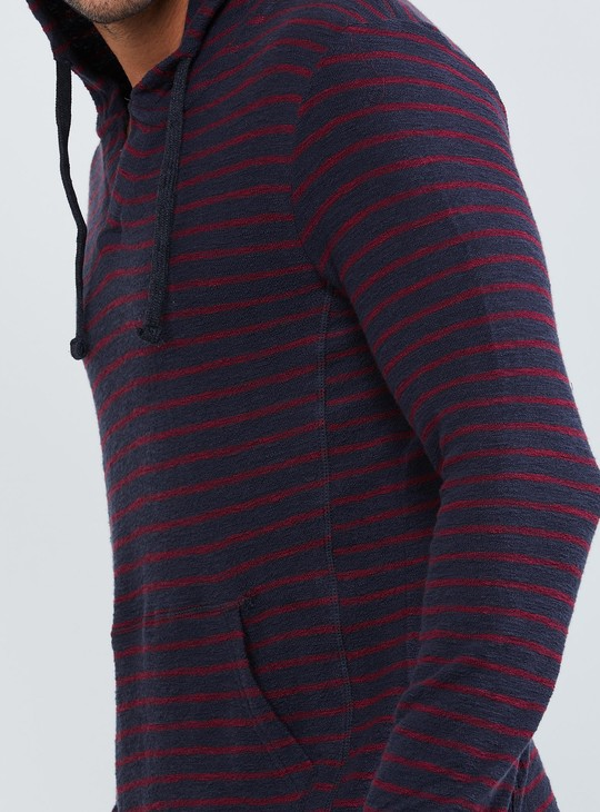 MAX Striped Hooded Longline T-shirt