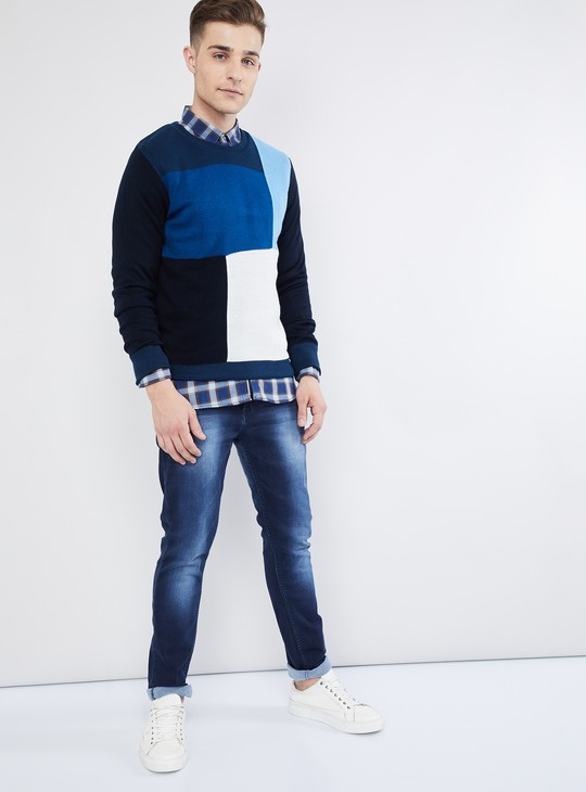 MAX Colourblock Long Sleeve Crew Neck Sweater