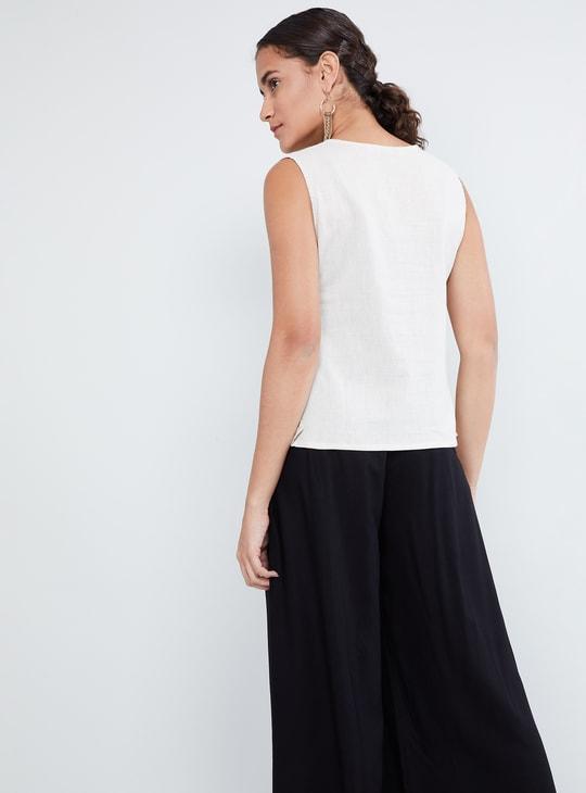 MAX Embroidered High-low Sleeveless Kurti