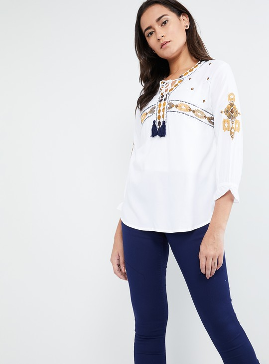 MAX Embroidered Tie-Up Blouse