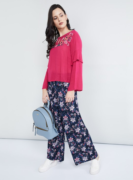 MAX Floral Embroidered Key-Hole Neck Blouse