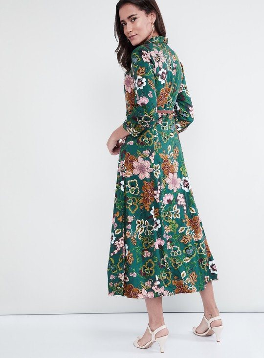 MAX Floral Print A-Line Dress with Belt