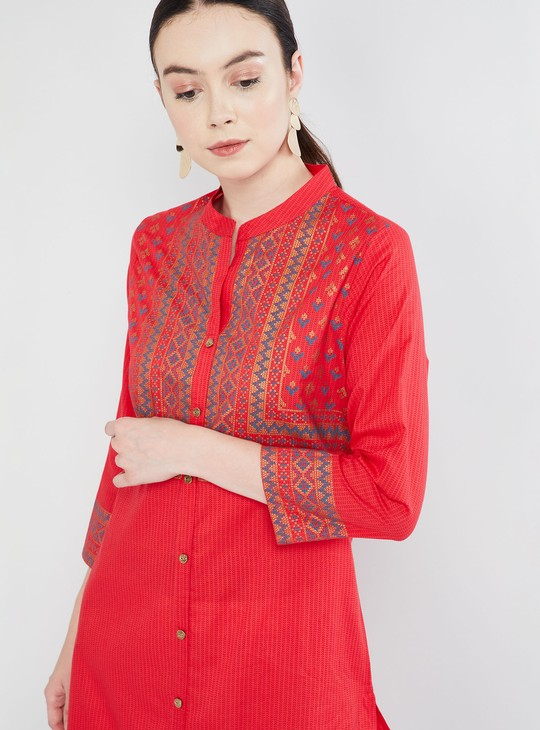 MAX Button Placket Printed Straight Kurta