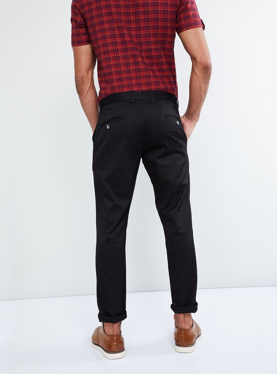 MAX Textured Buttoned Casual Trousers