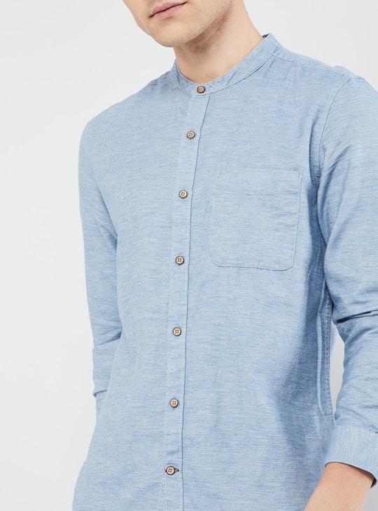 MAX Mandarin Collar Solid Shirt
