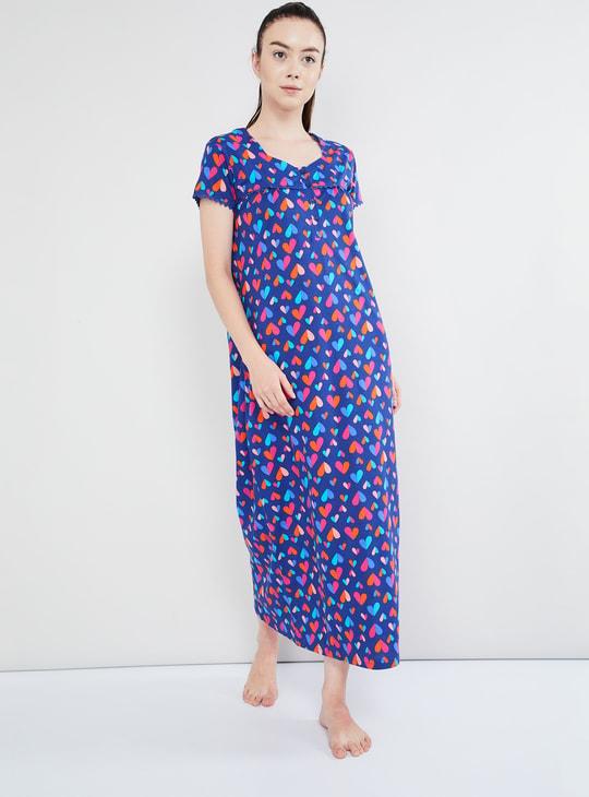 MAX Heart Print Maxi Night Dress