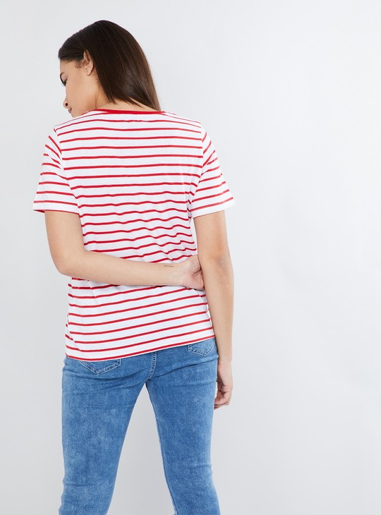 MAX Striped Printed Half-Sleeve Top