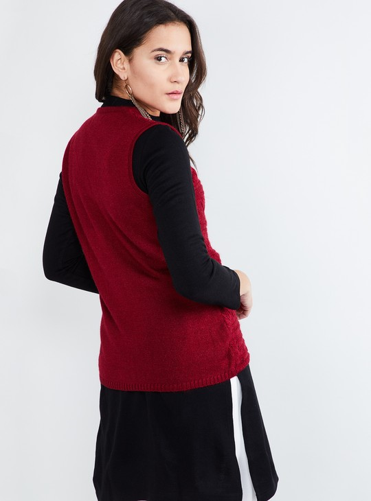 MAX Structure Knitted Sleeveless Cardigan