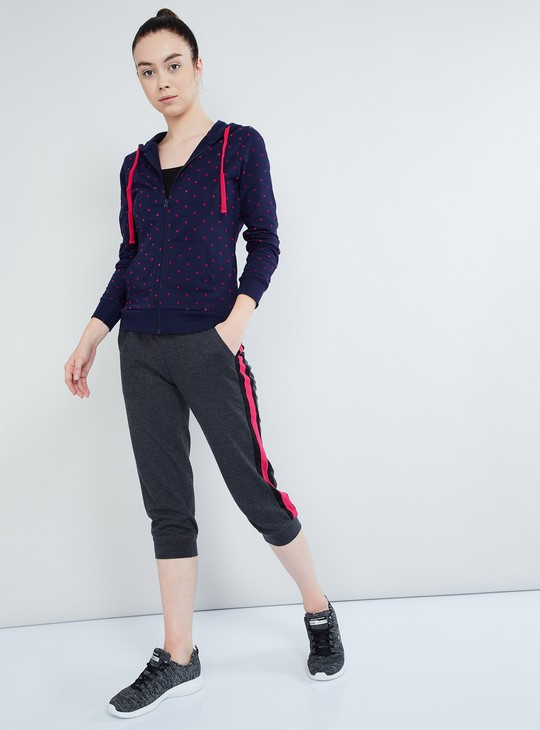 MAX Polka Print Zip-Up Hoody Sweatshirt
