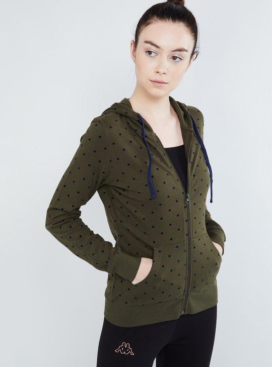 MAX Polka Print Zip-Up Hoody Sweatshirt