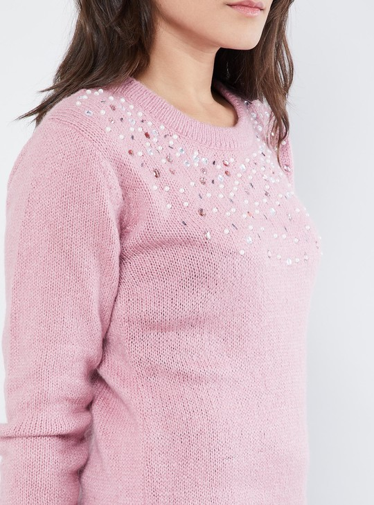 MAX Pearl Embellished Pullover