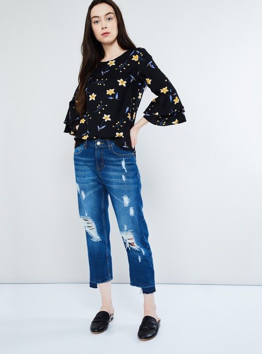 MAX Floral Print Tiered Bell Sleeve Top