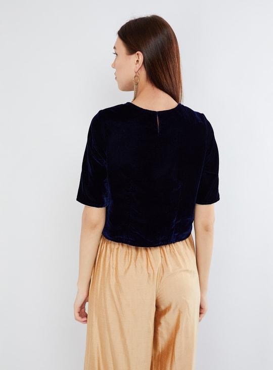 MAX Embroidered Half Sleeve Velvet Top