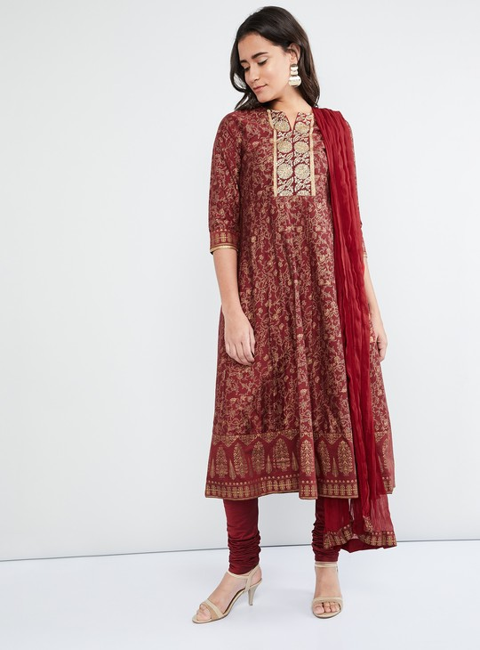 MAX Printed Silk Kurta with Churidar & Dupatta