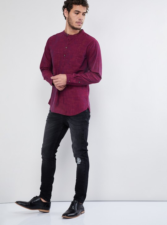 MAX Solid Band Collar Long-Sleeve T-shirt