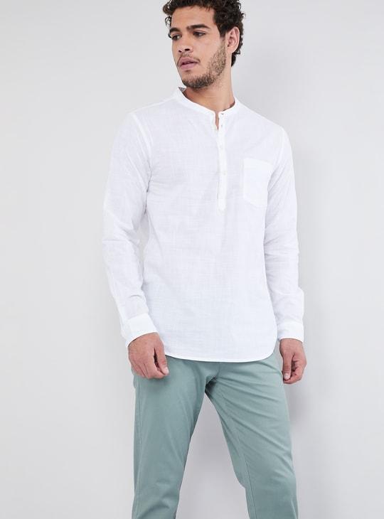 MAX Solid Band Collar Long-Sleeve T-shirt