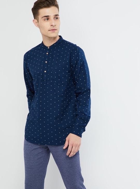 MAX Solid Band Collar Full Sleeves Shirt