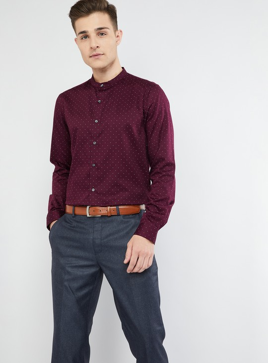 MAX Printed Mandarin Collar Formal Shirt
