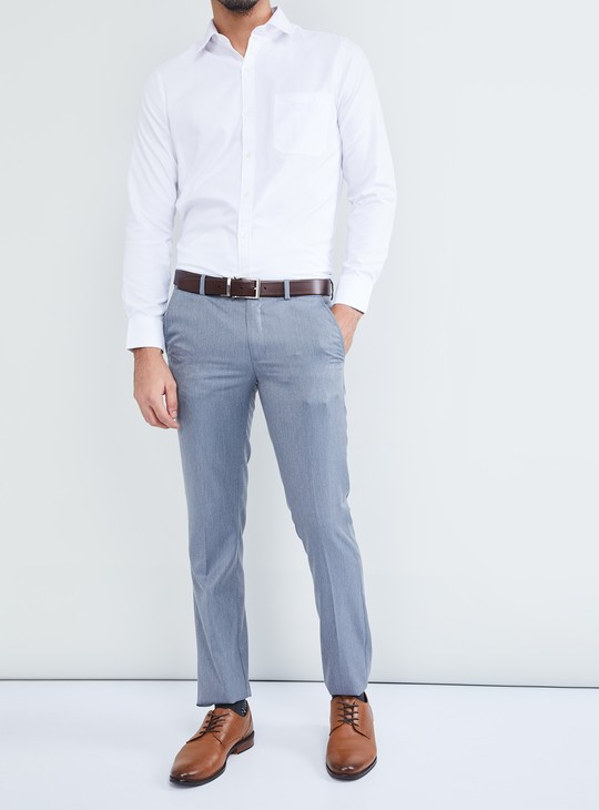 MAX Solid Flat-Front Formal Trousers