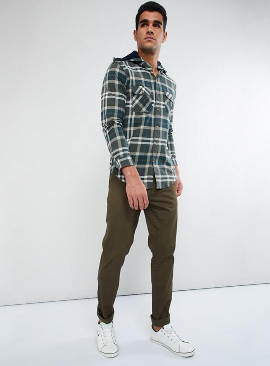 MAX Checked Mandarin Collar Long Sleeve Hooded Shirt