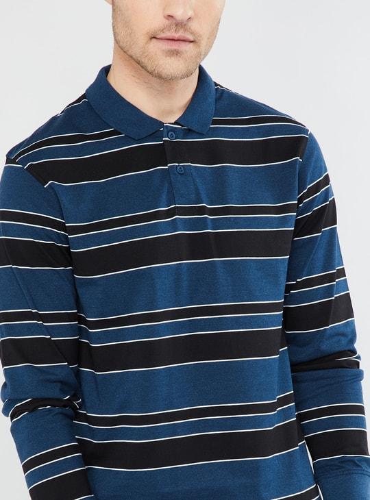 MAX Striped Long Sleeve Polo T-shirt
