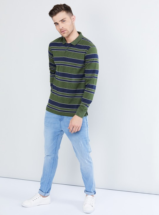 MAX Striped Long Sleeve Polo T-shirt