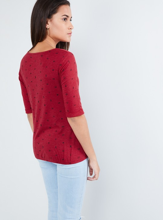 MAX All-Over Print Round Neck Top