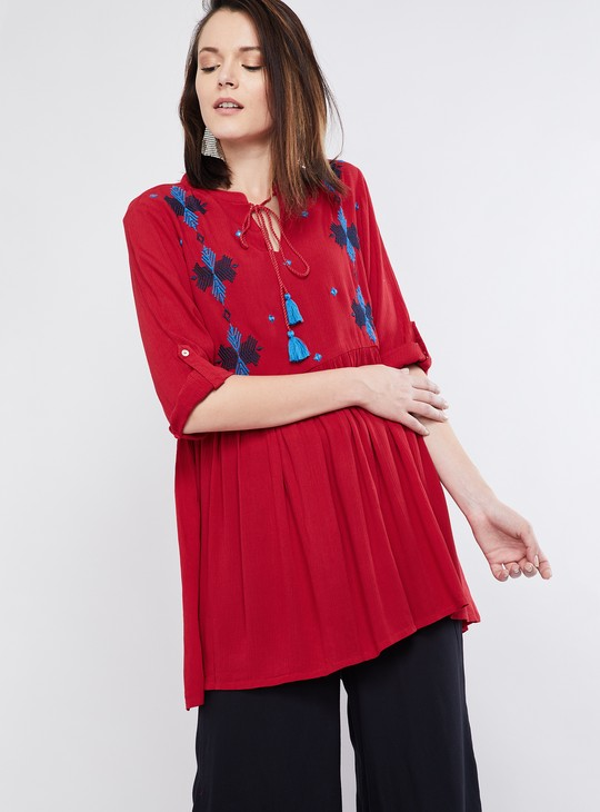 MAX Tasselled Tie-Up Embroidered Kurti