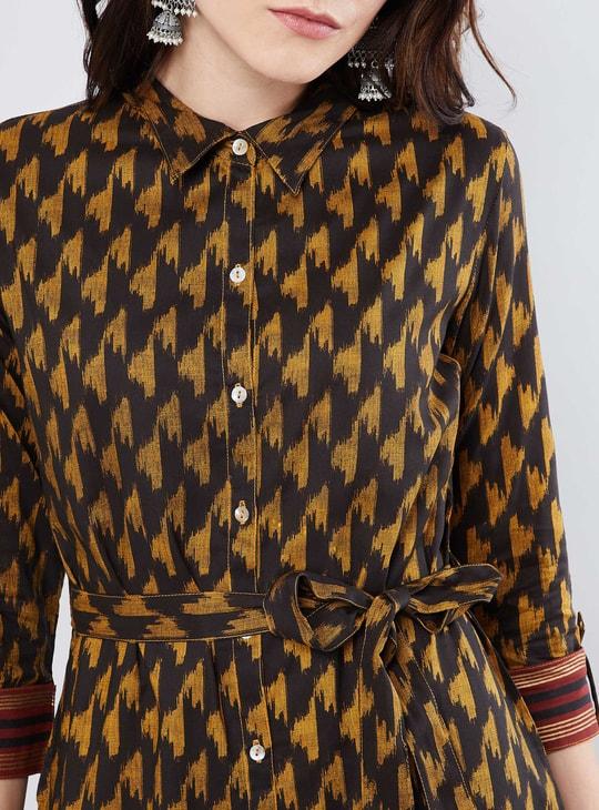 MAX Sash Tie-Up Block Print Shirt Dress