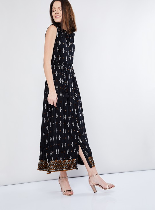 MAX Printed Empire-Waist Maxi Dress