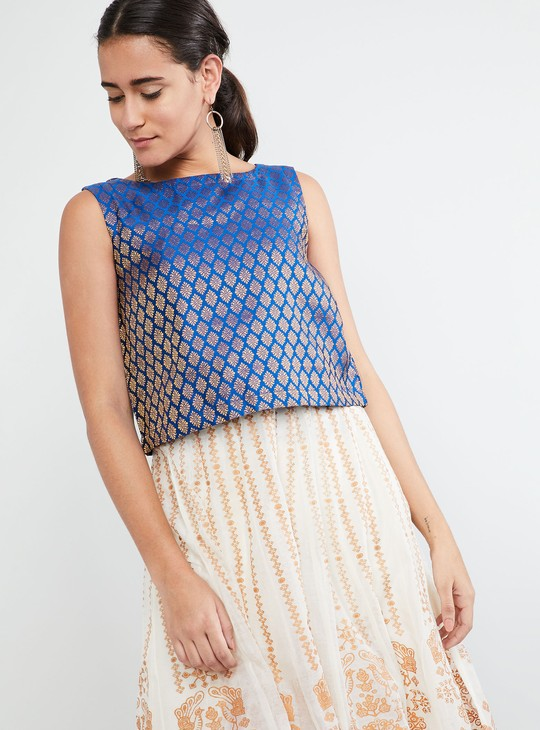 MAX Patterned Boat Neck Top