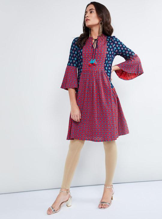 MAX Printed Bell Sleeve Dress