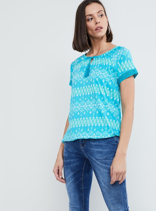MAX Printed Lace Trim Top