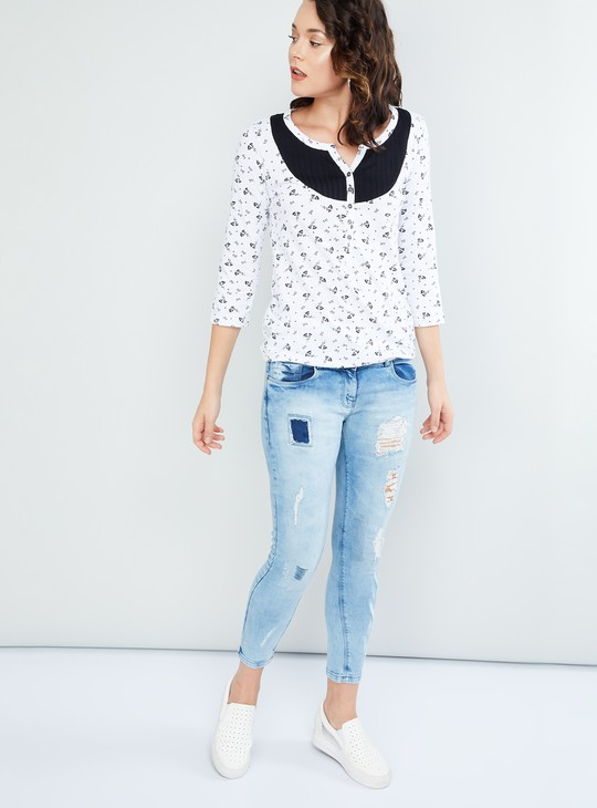 MAX Printed Three-quarter Sleeves Top
